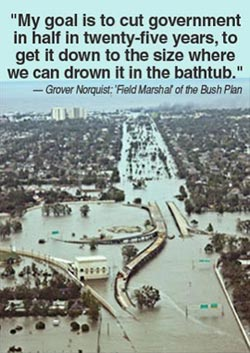 Grover Norquist quote: My goal is to cut government in half in twenty-five years, to get it down to the size where we can drown it in the bathtub